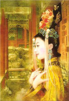 Chinese Beauty by Der Jen (Dezhen) Moda China, Art Asiatique, Ancient Beauty, China Art, Chinese Culture, Chinese Painting, Mellow Yellow, Beautiful Paintings, Amazing Artwork