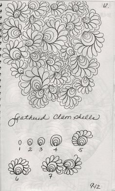 Here are a few designs from my sketch book Leaves……always a favorite Organic Background Filler Vertical Hairbands Bubbles Swirls and Curls Filler Clam shells and Swir Machine Quilting Patterns, Longarm Quilting, Free Motion Quilting, Quilt Patterns, Quilting Ideas, Zentangle Drawings, Doodle Drawings, Zentangles, Doodle Art
