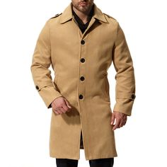 6651739d3ca Mens Thick Warm Wool Mid-long Single Breasted Casual Business Trench Coat  is fashion, see other designzer wool blend coat on NewChic.