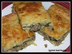 Turkish Food Passion: Borek with Ground Beef (Kıymalı Börek) - cooking - - Turkish Recipes - French Armenian Recipes, Lebanese Recipes, Turkish Recipes, Greek Recipes, Ethnic Recipes, Quiches, Comida Armenia, Middle Eastern Recipes, Savoury Dishes