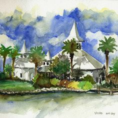 Watercolor sketch of Disney's Wedding Pavilion, art by Will Gay