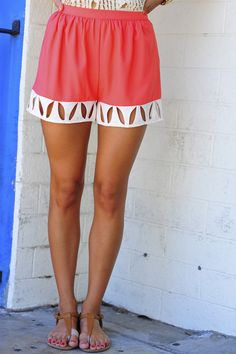 Classy And Cutouts Shorts: Coral/Ivory