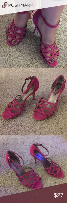 "Moda International hot pink suede 4"" strap heels Super fun and sexy hot pink, suede, open toe,  4"" heels with ankle strap from Moda international. Shoes are in excellent condition and were only worn once. Moda International Shoes Heels"