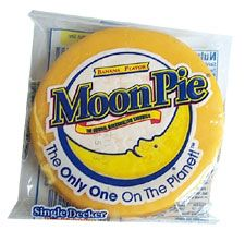 """How they got to be called """"moon pies,"""" I really don't know. They're round, so I get the """"moon"""" part. But they do not resemble a pie AT ALL. At least no pie I've ever seen, and I'm sure y'all know I've seen a fair share of pies. Moon Pies, Georgie, Snack Recipes, Snacks, Good Night Moon, Pop Tarts, Just In Case, Sweet Tooth, Bakery"""
