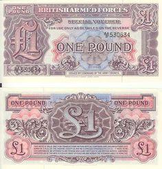 1 funt, Wielka Brytania. Banknot nigdy nie wprowadzony do obiegu, w użytku wewnętrznym armii brytyjskiej podczas II wojny światowej.