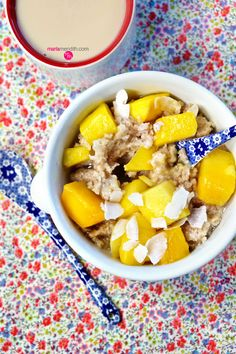 Quick Mango Oatmeal. Vegan & Gluten-Free | MarlaMeridith.com