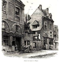 Antique print Dieppe Seine-Maritime 1880 gravure