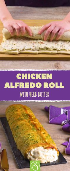 Our tasty Chicken Alfredo Roll use a loaf of bread to create a culinary delight that's great for sharing. It's hard not to be won over by a delicious dish that's hard to resist!  #scrumdiddlyumptious #chickenalfredo #chicken #alfredo #roll #bread #loaf #lunch #dinner #share #sharing #tasty #delicious #delight #cream #bacon #sauce