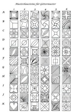 Pattern sheet for zentangle.  Good for inchies.