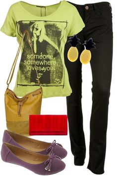 Colour Blast! Hanging out with friends or hanging out at your favourite cafe, this is a great look for you! Skinny jeans with a bright t-shirt, worn with adorable purple flats and bright accessories. have fun with you look and clashing colours!