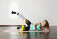 These creative moves, designed and modeled by DanceBody creator Katia Pryce, work your thighs in ways you didn't know were possible. You may perform the exercises using your body weight but make sure to squeeze legs, glutes, and abs to create your own. Fitness Workouts, Butt Workout, Band Workouts, Fitness Routines, Outer Thighs, Sup Yoga, Resistance Band Exercises, Thigh Exercises, Outer Thigh Workouts