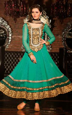 GREEN GEORGETTE EMBROIDERED SALWAR KAMEEZ - WHRO 6001B