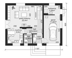 Rzut parteru projektu Dom przy Alabastrowej 33 100 M2, Dom, Floor Plans, Floor Plan Drawing, House Floor Plans