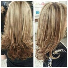 Chunky Highlights And Lowlights | Beige Blonde Highlights on Light Brown base & Cut by Diana Viramontes by suzette