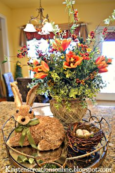 Kristen's Creations: Spring On The Kitchen Island : flowers, rabbit, birds nest