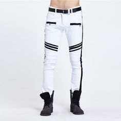 men fashion summer Fashion Men's Pants Wholesale Stitching Fashionable Tide Brand White and Black Panelled Straight Legged Man Jeans Hot sale 2017 *** View the item in details on AliExpress website by clicking the VISIT button