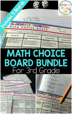 3rd grade math choice boards bundle are great low prep projects for all year.  Great differentiation tool that gives students choice and empowers them.  Includes printable math choice boards for fractions, geometry, measurement, numbers & operations in base 10 and operations and algebraic thinking. Meets all 3rd grade common core standards.  #3rdgrademath #teachingmath #mathchoiceboards