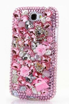 Crystal Heart with Litter #Pink Purse Design Case Cover | Bling Samsung Galaxy Note 2 case pearl glitter phone cover for teens. http://luxaddiction.com/collections/3d-designs/products/crystal-heart-with-litter-pink-purse-design-style-368