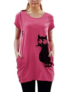 Allegra K Lady Round Neck Short Sleeve Cat Prints Loose Tunic Top M Fuchsia ** You can find more details by visiting the image link.