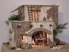 Risultati immagini per casas para belenes Christmas Nativity Scene, Christmas Home, Fontanini Nativity, Garden Nook, Outdoor Office, Miniature Houses, Fairy Houses, Village Houses, Small World