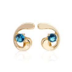 Trendy Female Round Cubic Zirconia 585 Gold Blue Earrings Crescent Design Women Indian Jewelry Drop Earrings With Hanging Stones