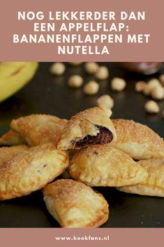 Nog lekkerder dan een appelflap: bananenflappen met Nutella Nutella Brownies, Good Food, Yummy Food, Dessert Recipes, Desserts, Christmas Treats, Baked Goods, Brunch, Food And Drink