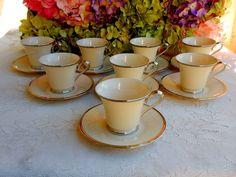 8 Beautiful Lenox Porcelain Cups & Saucers ~ Solitaire ~ Cream ~ Platinum #Lenox