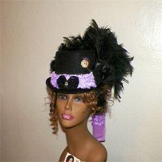 Top Hat Purple Steampunk Victorian Black Riding Ladies Costume Hat  Victorian Costume ec46ca061403
