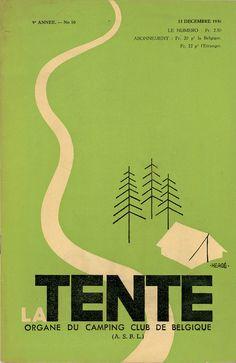 La Tente magazine cover illustration and lettering, 1936