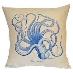 Octopus Pillow. Beach house pillow