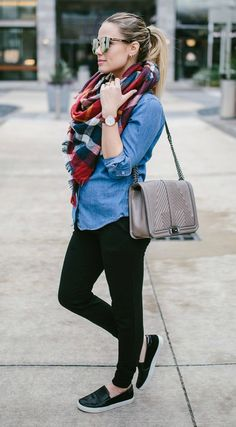 Plaid Scarf   Casual outfit   Maternity outfit   Maternity casual outfit   Uptown with Elly Brown