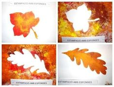 would be neat to make a series of 2 or 4 w/ both negative and positive leaves. Autumn Crafts, Fall Crafts For Kids, Autumn Art, Autumn Theme, Summer Crafts, Crafts To Make, Art For Kids, Arts And Crafts, Kindergarten Christmas Crafts