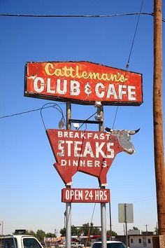 "Route 66 - Cattleman's Club and Cafe on old Rt. 66 in Amarillo, Texas. ""The Fine Art Photography of Frank Romeo."""