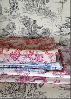 A small collection of vintage toile
