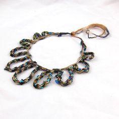 Braided Fiber Necklace Textile Necklace Spring by Fibernique, $30.00