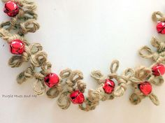 DIY Loopy Jute Twine Garland With Bells - While watching a video on finger crocheting a light bulb went off for me to try to make a garland out of jute twine using…