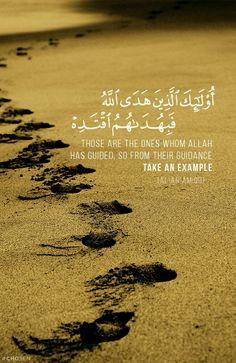 QS. Al- An'am :90  Mereka itulah orang-orang yang telah diberi petunjuk oleh Allah, maka ikutilah petunjuk mereka.