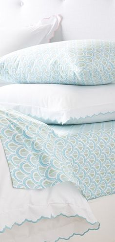 First a fabulous sheet set, a tried-and-true basics takes center stage. The embroidered scallop edge brings a sweet vintage vibe to the classic look. A fun detail for those craving an (almost) all-white bed. Teen Girl Bedding, Girls Bedding Sets, Teen Girl Bedrooms, Little Girl Beds, Girls Duvet Covers, Embroidered Bedding, White Bedding, Girls Dream, Girl Room