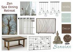 Seaside Interiors: Zen/Spa Retreat Living and Dining Room Mood Board 2 Ways!