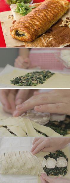 #receta trenza de #hojaldre rellena de queso de cabra, espinacas, piñones y pasas #entrante