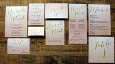 Blush Ombre and Gold Glitter Downloadable Wedding Invitations by DColovenotes