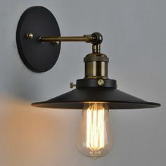 59.98$  Buy here - http://alis52.worldwells.pw/go.php?t=32694413864 - American Loft Industrial Wall Lamps Vintage Bedside Wall Light Metal 22cm Lampshade E27 Edison Bulbs 110V/220V WLL-339