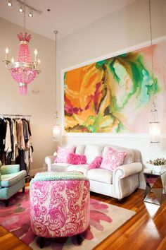Love these bright colors in a sitting area or living room.