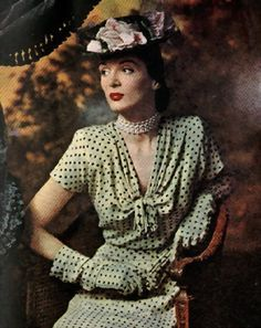 Rose Barrack designs 1945 - Love that the gloves match the fabric/pattern of the dress. Ver chic.