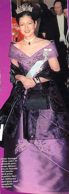 Prince Joachim and Princess Alexandra at Queen Margrethe's Silver Jubilee Celebrations in January 1997 Alexandra Manley, Princess Alexandra Of Denmark, Danish Royal Family, Danish Royals, Royal Fashion, Shades Of Purple, Purple Dress, Royal Families, Celebrities