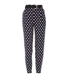 Navy polka dot high waisted trousers at River Island Navy Blue Pants, Blue Trousers, Trousers Women, Polka Dot Pants, Blue Polka Dots, Outfit Zusammenstellen, Neue Outfits, High Rise Pants, Work Attire