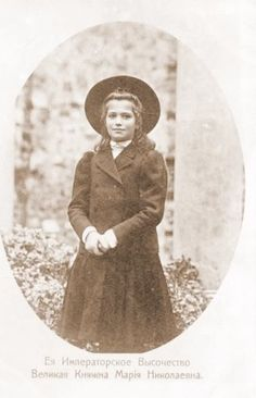 """""""Maria had the same charming smile as her sister Olga, the same shape of face, but her eyes, 'Marie's saucers,' as they were called by her cousins, were magnificent, and of a deep dark blue. Her hair had golden lights in it, and when it was cut after her illness in 1917, it curled naturally over her head."""" - Sophie Buxhoeveden"""