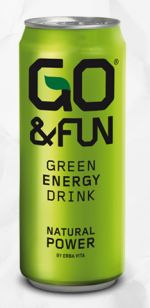 Go&Fun Green Energy Drink Natural Power by Erba Vita. Gluten free. Made from green tea & ginseng. PD