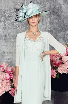 Sweetheart neck dress with lace overlay into a v neck and wide straps. The dress has a tightly pleated waistband to draw in and there is beading detail off centre. The coat comes to just above the hem and has ¾ sleeves and a waterfall edge. Product Code: 008895 Colour: Mint