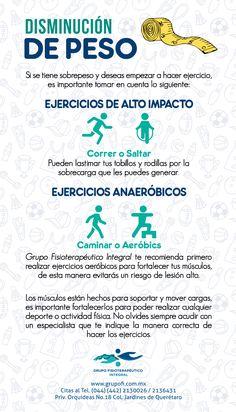 Disminución de peso. No olvide siempre acudir con un especialista que le indique la manera correcta de hacer los ejercicios, así evitará lesiones.  #GrupoFI #Infografía #Fisioterapia.